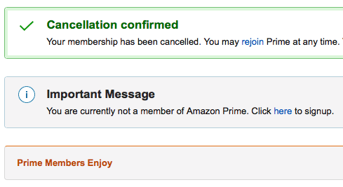 Amazon Prime Cancellation