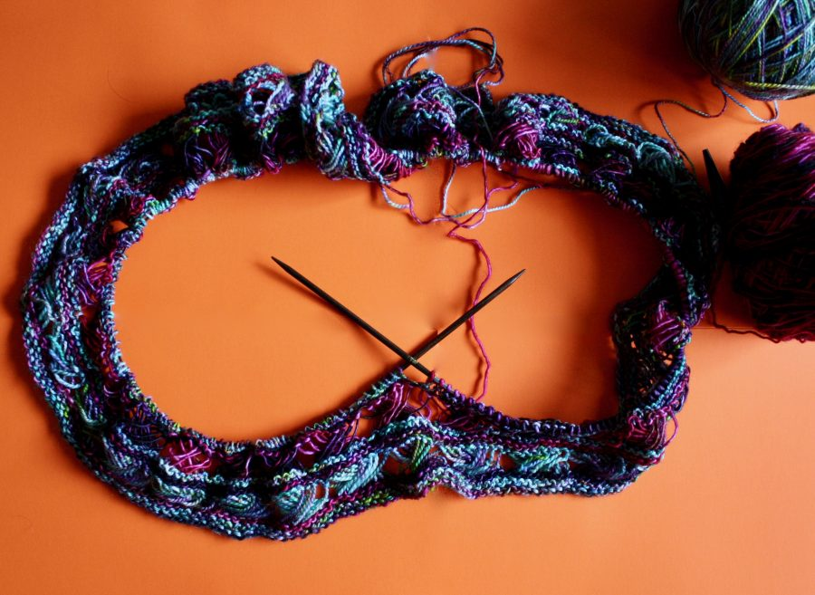 Knitted Cross Stitch Scarf 05-22-19