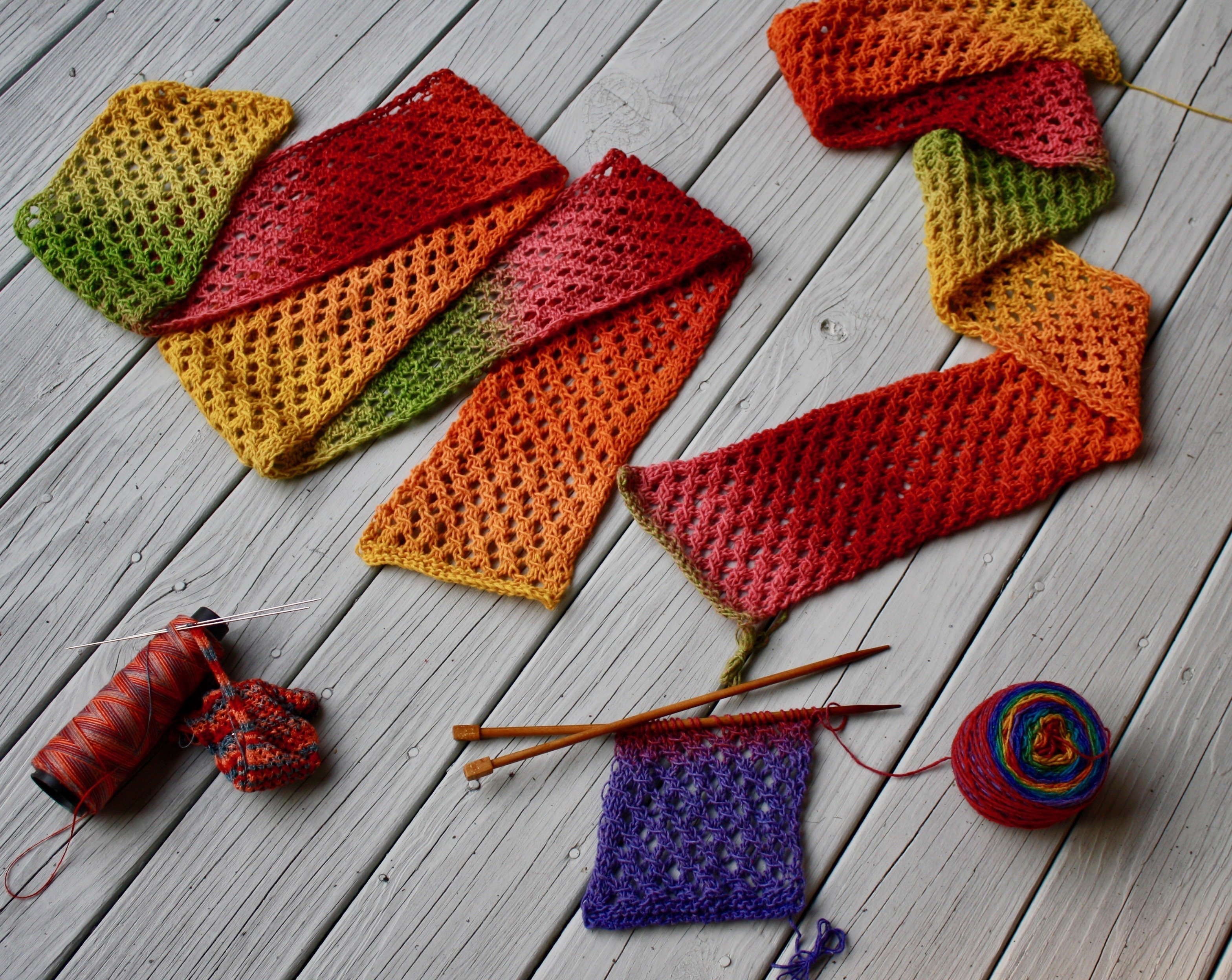 Blessed with color Mesh knitting 07-10-19