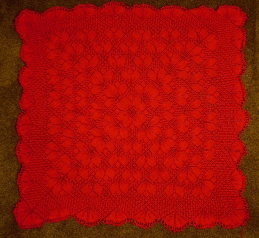 memoji red square lace steam blocked