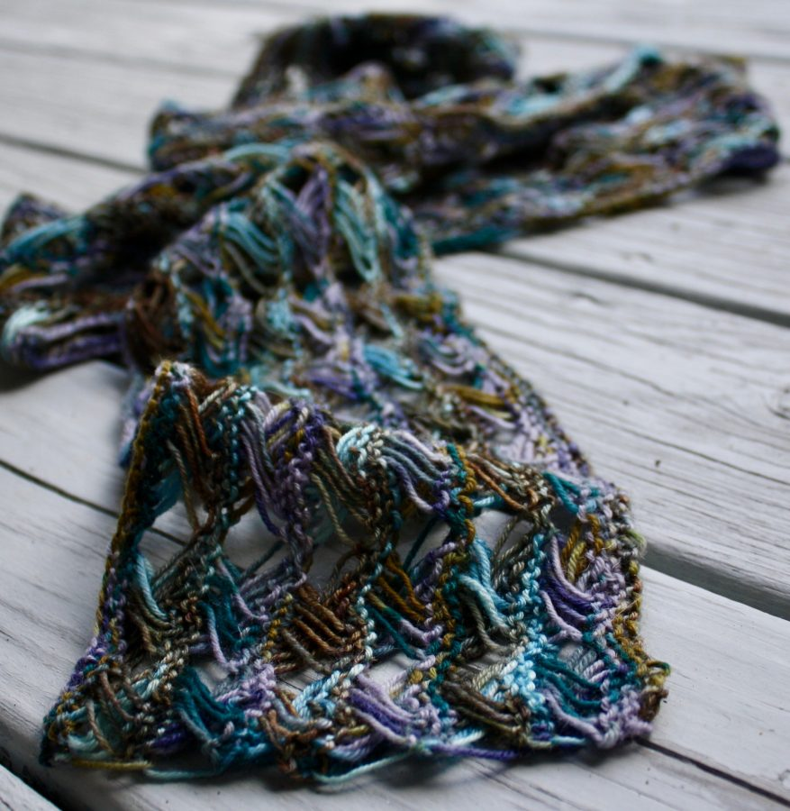 We Persist Knitted Cross Stitch Scarf
