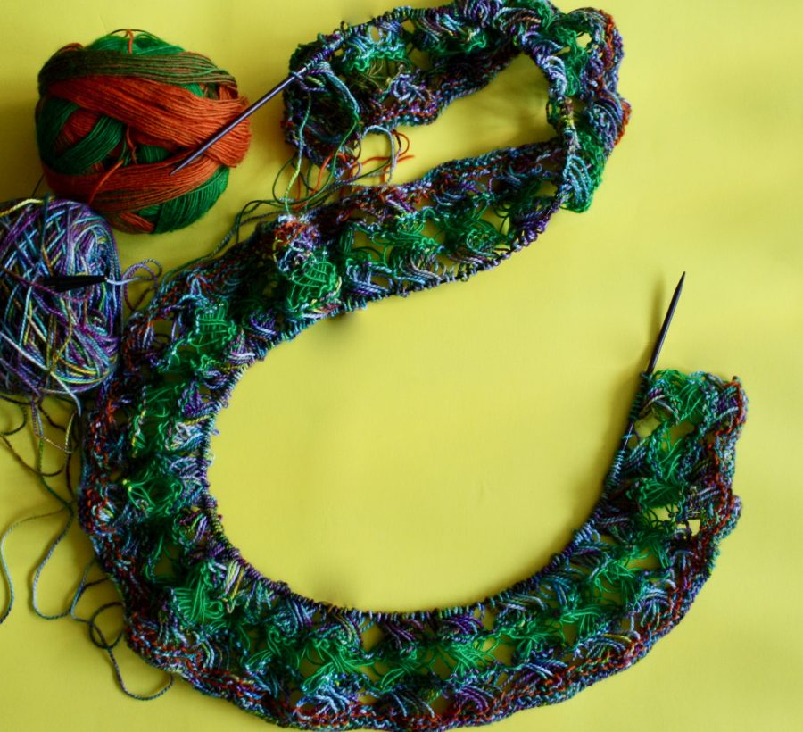Knitted Cross Stitch Scarf 09-15-19 01