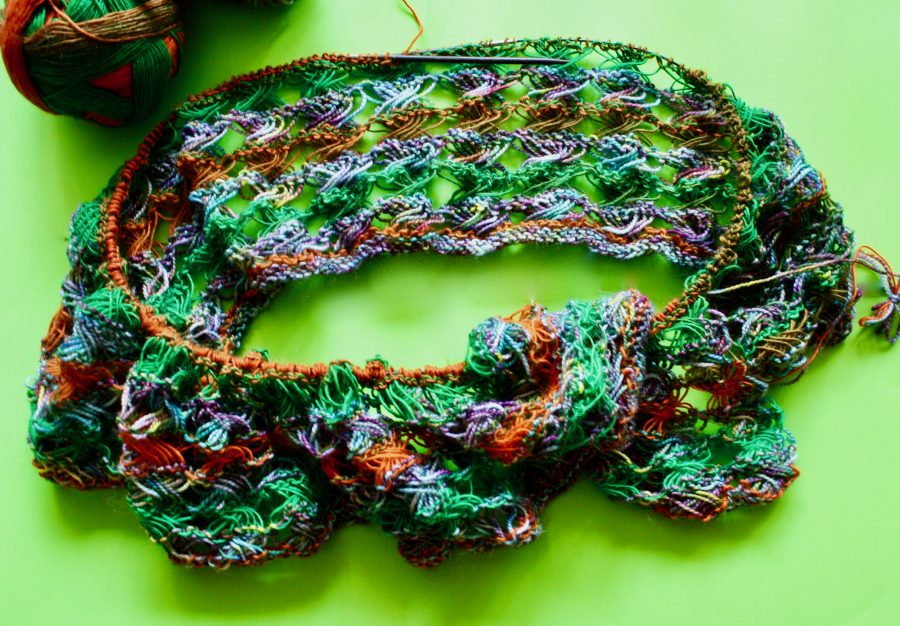 Knitted Cross Stitch Scarf 09-20-19 01