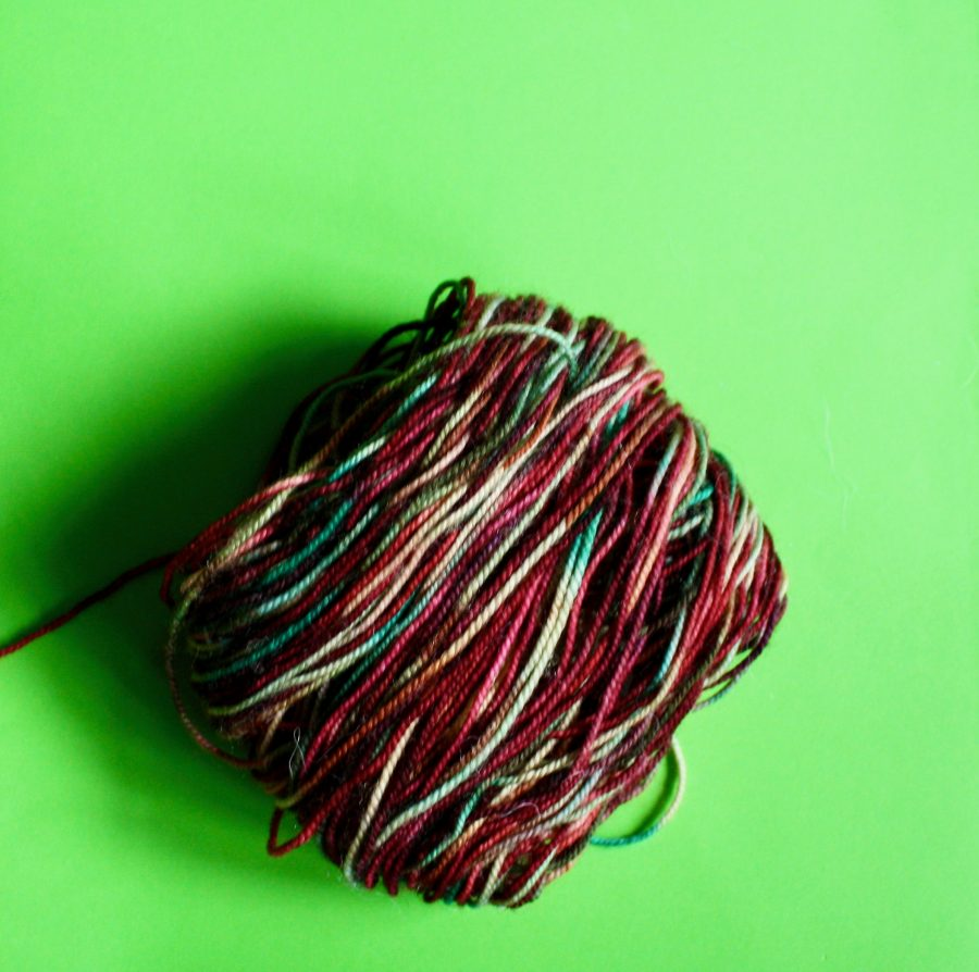 Garter Striped Scarf Yarn Left