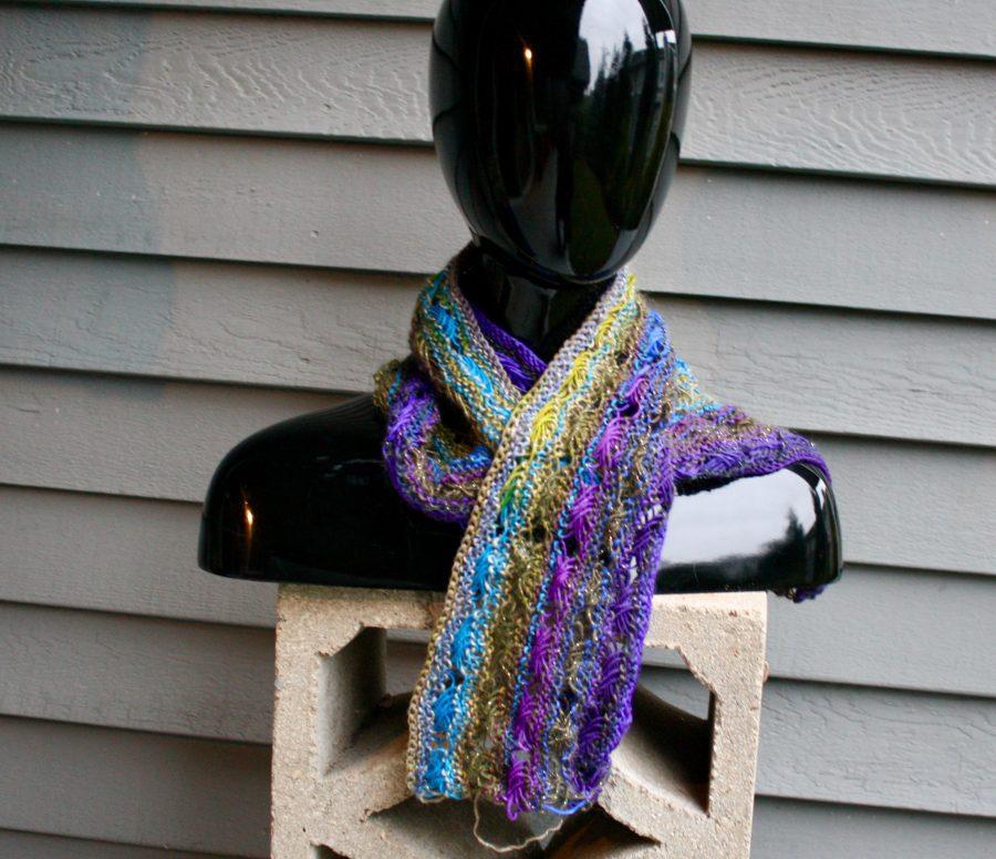 Knitted Cross Stitch Scarf Gaudy 11-27-19 04