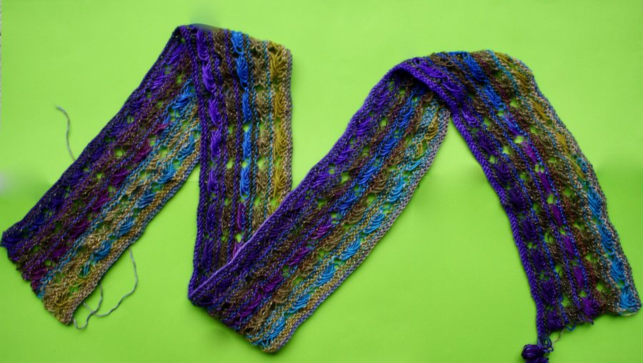 Knitted Cross Stitch Scarf Gaudy 11-27-19 07