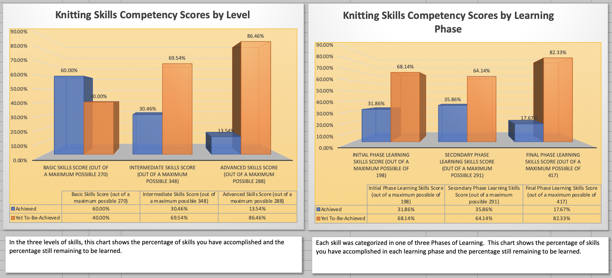 Knitting Skills Proficiency Report Graphs