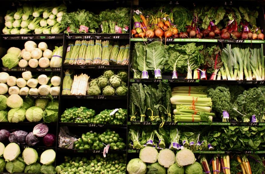 Organic Vegetable Display at Grocery Store