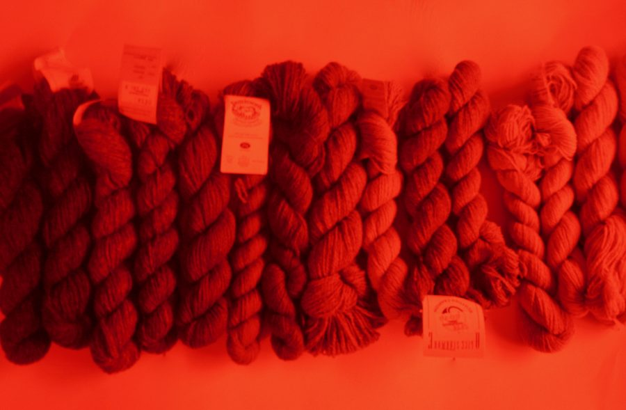 Shetland Yarn Various Colors Sorted by Red Glass