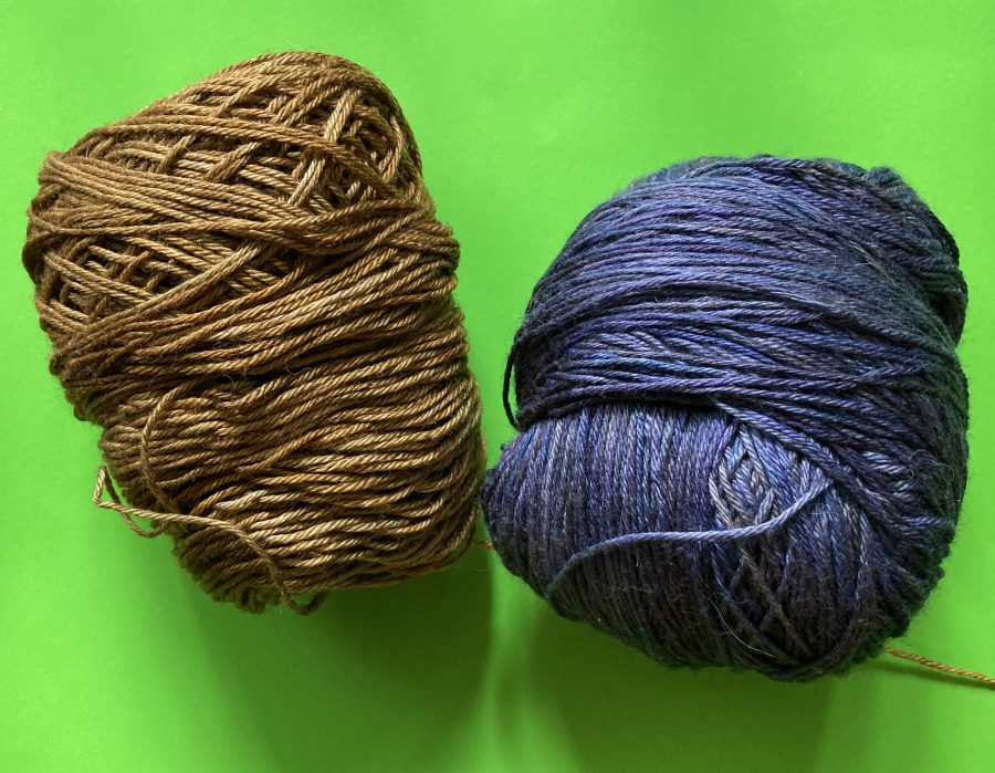 Ball and Skein Glissade Yarn in Gold and Purple Aubergine