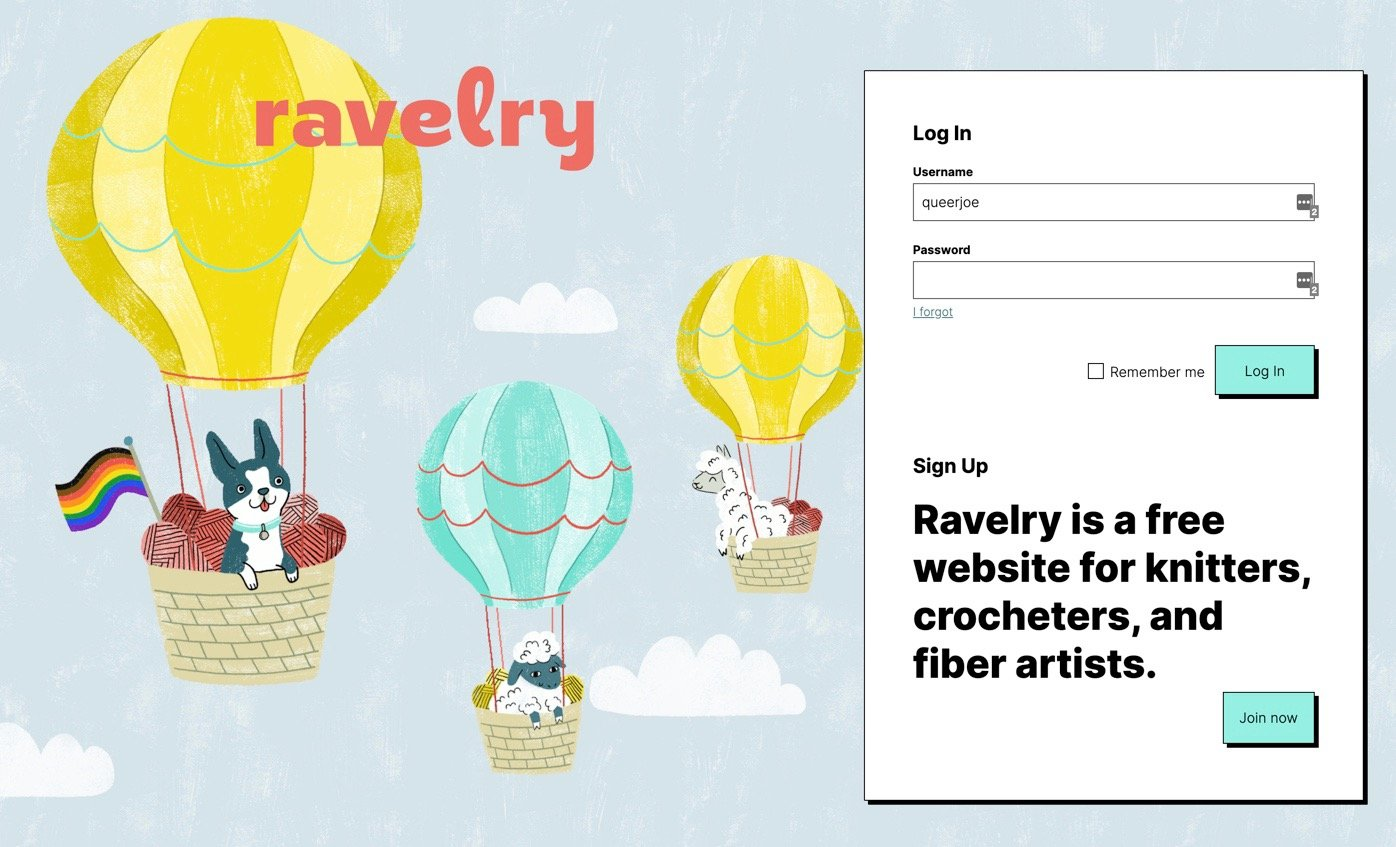 Ravelry Response Ravelry Sign-On Page