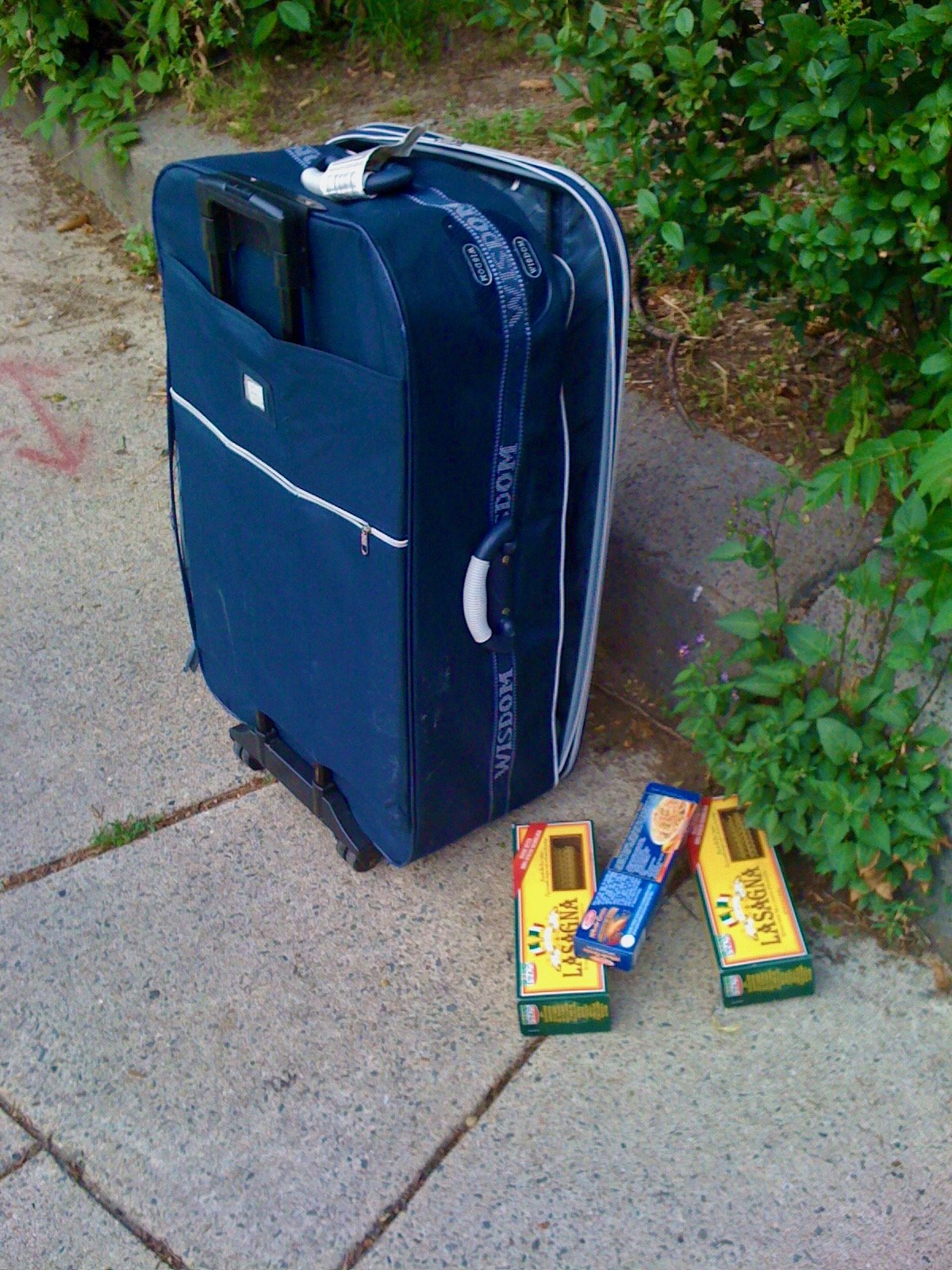 Whats Happening Here - Suitcase and Pasta on the Sidewalk