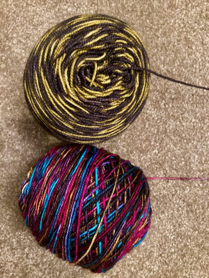 Primordial Soup Shawl Yarns Ainsling Bumblebee and Dragonfly Djinni Firecracker
