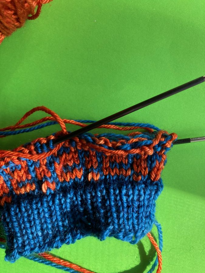 Provenance Mitts with many dropped stitches