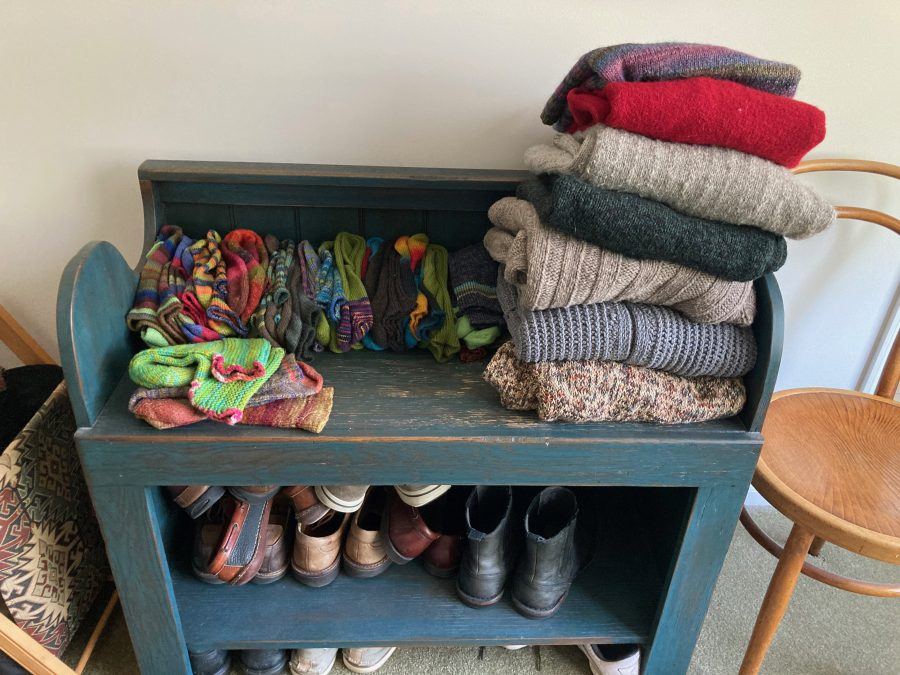 Socks and Sweater Bench