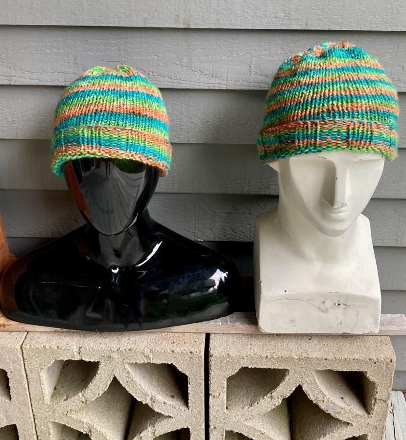 Colorful Hat - Aqua Orange and Green Med 04