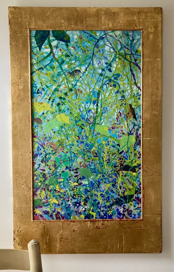 Jane Gilday Painting Backyard Vines and Birds