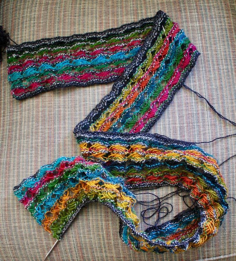 Colorful Cross Stitch Scarf